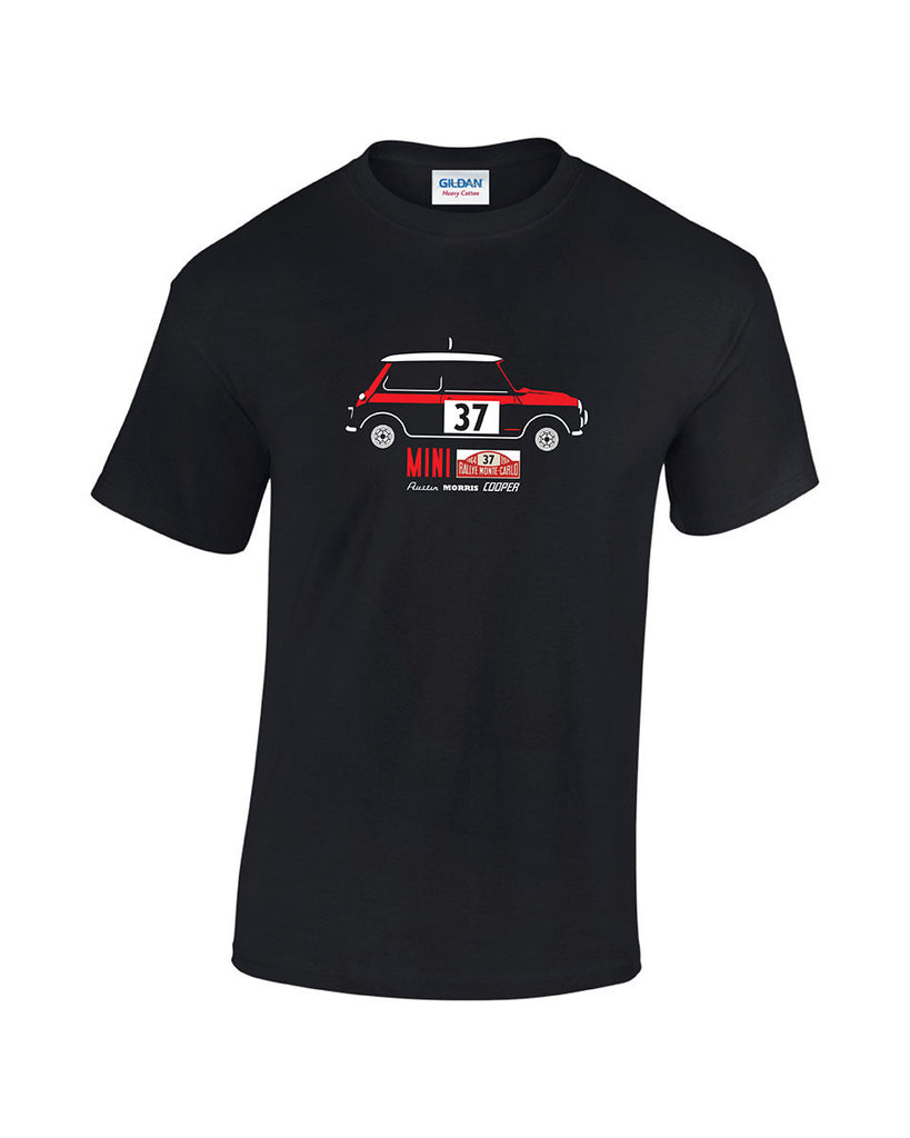 Paddy Hopkirk inspired classic Mini Cooper S T Shirt from the 1964 Monte Carlo. High quality, low price printed t shirts by Rinsed T Shirts.