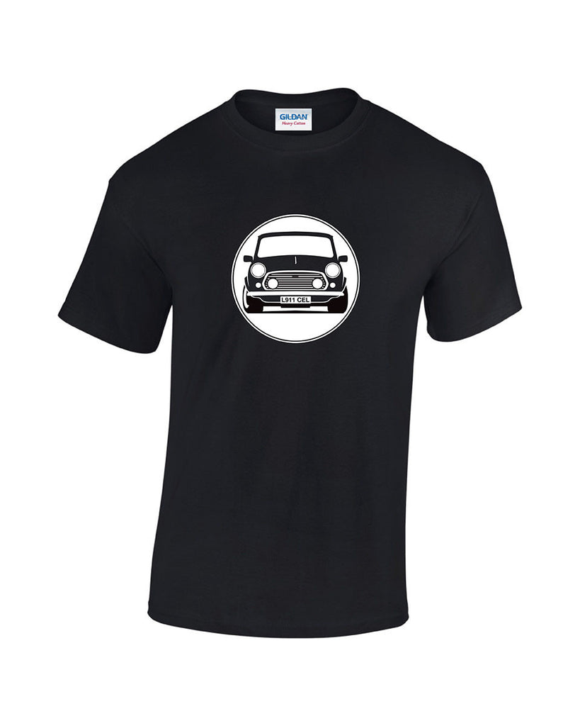 Personalised Classic Rover Mini t shirt. Colour and number plate can be changed to match your car. Low cost custom classic car t shirts from Rinsed T Shirts.