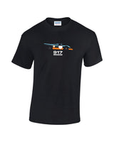 Historic porsche 917k le mans car t shirt. Cheap classic car t shirts from Rinsed t shirts. Gulf oil blue and orange racing car t shirt.