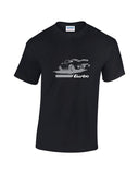 Classic Porsche 911 T Shirt at low prices and a range of print colours. Low cost Porsche tribute t shirt.