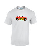 Red classic mini toy. Classic matchbox racing mini print t shirt. Funny classic mini t shirt.