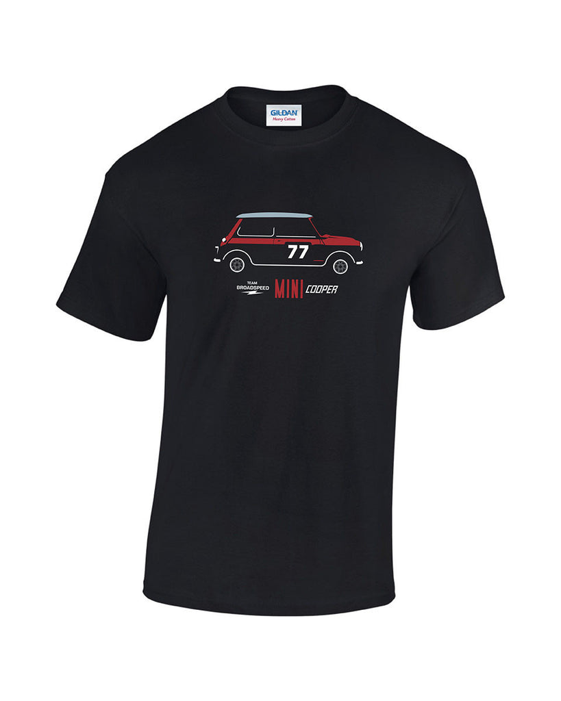 Team Broadspeed classic Mini Cooper S racing print t shirt. Low price classic mini racing t shirt from Rinsed T Shirts.