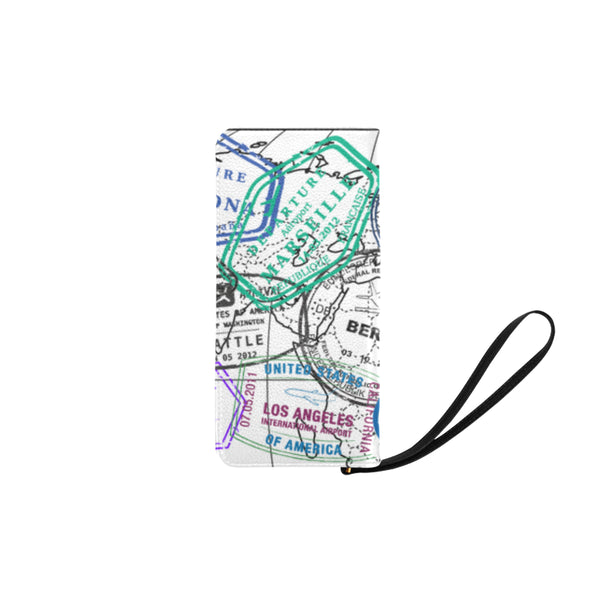 Custom Passport Stamps Clutch Purse, Travel