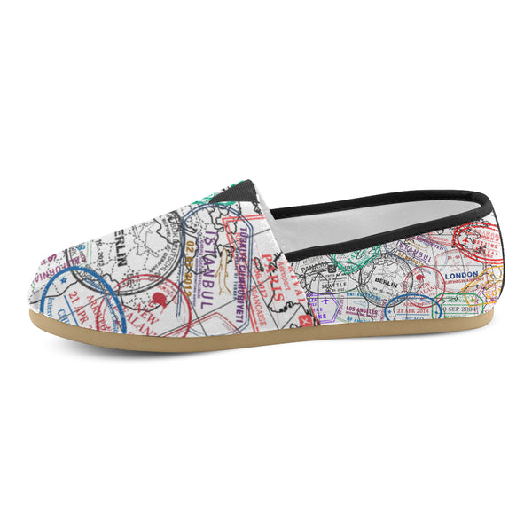 Passport Stamps Women's Casual Shoes - Black