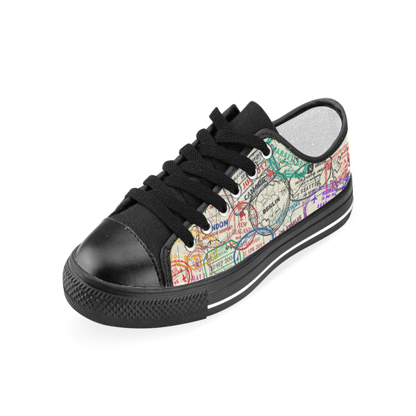 Premium Passport Stamps Women's Classic Canvas Shoes - Black