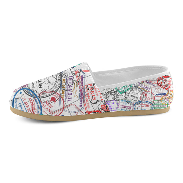 Passport Stamps Women's Casual Shoes - White