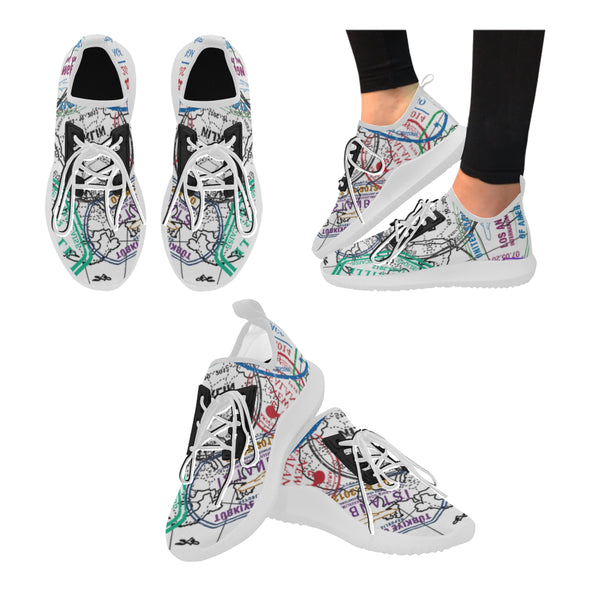 Ultralight Passport Stamps Running Shoes for Women - White Laces