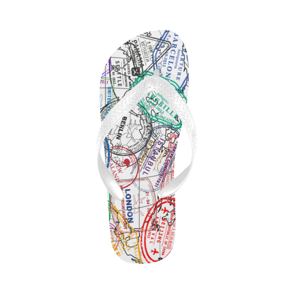 Passport Stamps Flip Flops for Men/Women