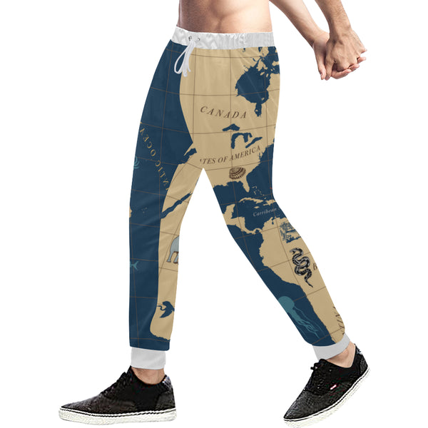 Men's Nautical Map Casual Sweatpants