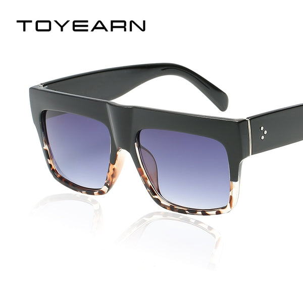Fashion Vintage Brand Designer Lady Big Square Sunglasses Women Kim Kardashian Rivet Eyewear Flat Top Black Sun Glasses Female
