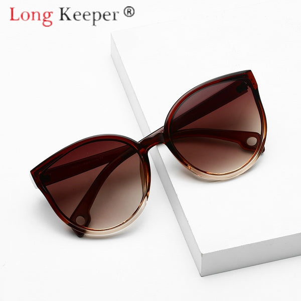 LongKeeper Sunglasses Cat Eye Women Men Sun Glasses Eyewear Eyeglasses Plastic Frame Clear Lens UV400 Shade Fashion Driving New