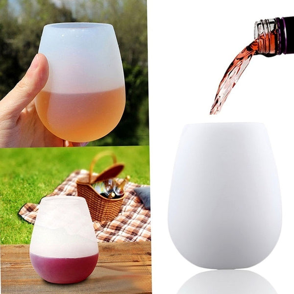 1 pc Silicone Wine Cup Protable Practical Outdoor Camping Hiking Soda Beer Cup Unbreakable Portable Stemless Collapsible Cup