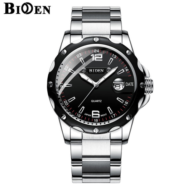 BIDEN Luxury Brand Calendar Quartz Business Men Watch Waterproof Stainless Steel Sport Wrist Watch Man Clock relogio masculino