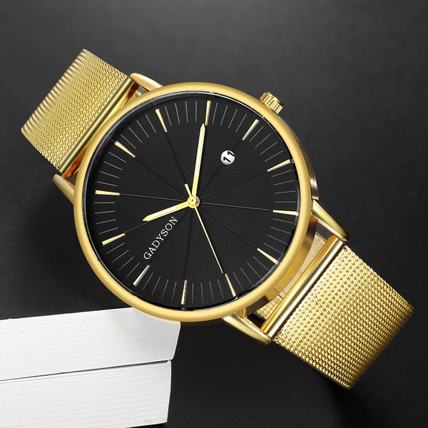 Fashion Business Watch Men Luxury Brand Gold Black Mesh Steel Quartz Watch for Man Minimalist Wrist Watches Relogio Masculino