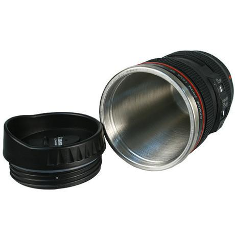 SLR Camera Lens Stainless Steel Travel Coffee Mug with Leak-Proof Lid