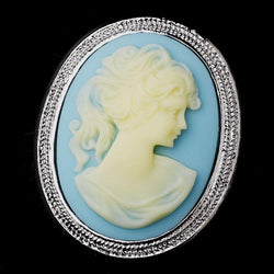 * Antigua Silver Light Blue & Vanilla Cameo Brooch 159