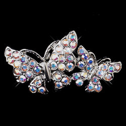 * Antique Silver AB Rhinestone Butterfly Brooch 212