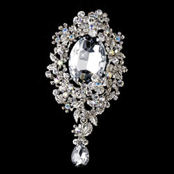 * Antique Silver Clear AB Rhinestone Brooch 81