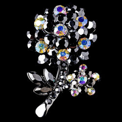 * Antique Silver Black Aurora Borealis Rhinestone Flower Brooch Pin 96