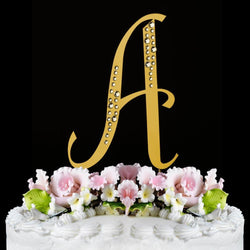 Sparkle ~ Gold Plated Individual Letter Inital Crystal Wedding Cake Toppers