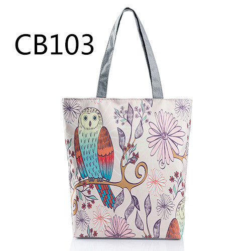 """Floral And Owl Printed  Women's Casual Tote"""