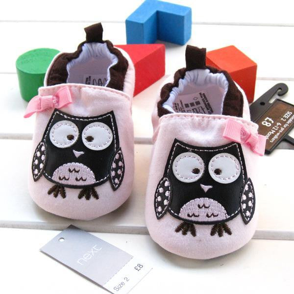 Cute light pink baby girls lovely owl shoes bow slip-on frist walker cotton soft  prewalker shoes