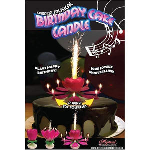Mystical Fireworks Candle Pink Spinning Musical Birthday Cake Candle