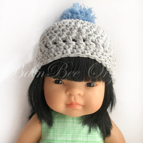 Mini Crochet Beanie - Grey