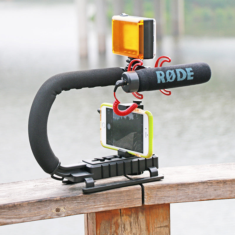 Triple Shoe Mount Video Stabilizing + Handle Grip