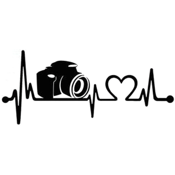 19.1cm*8.3cm Camera Heartbeat Vinyl Sticker