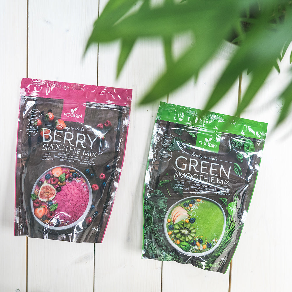 Foodinin uudet superfoodjuomat: Foodin Smoothie Mix Berry ja Foodin Smoothie Mix Green