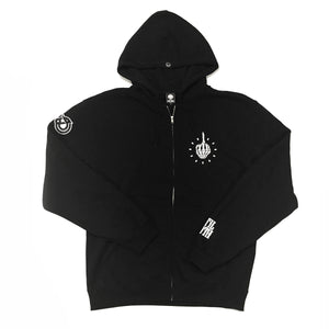 FKTIME  - Mens Black Zip-Up Hoodie