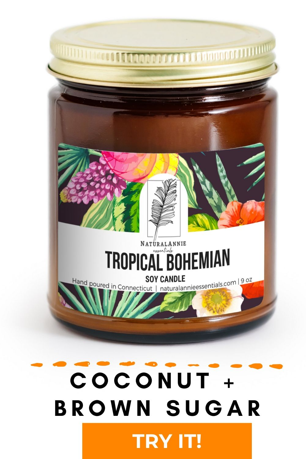 NATURAL CLEAN BURNING COCONUT BROWN SUGAR SOY CANDLE