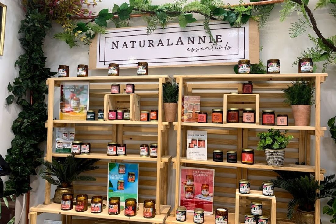 naturalannie essentials candle booth display