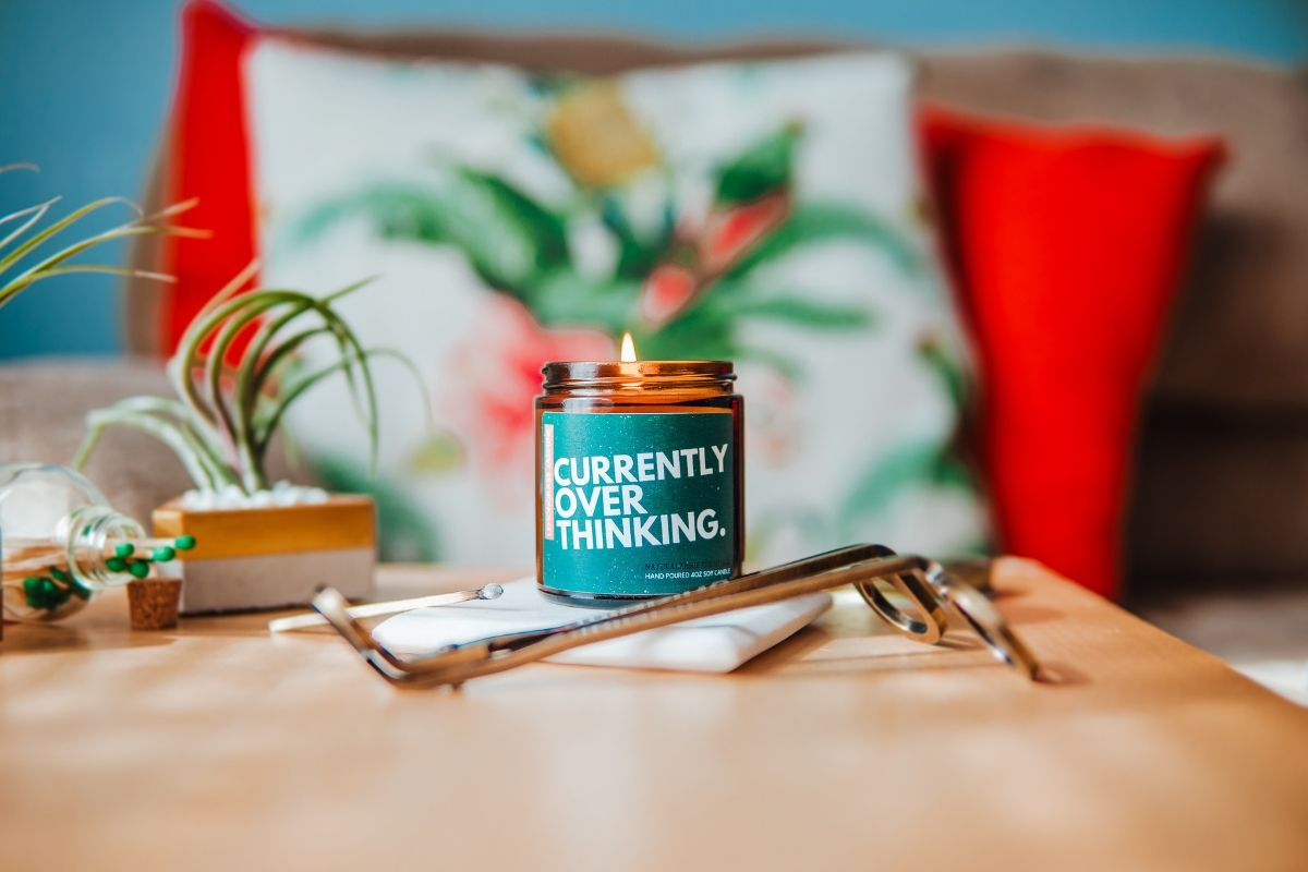 currently overthinking desk candle