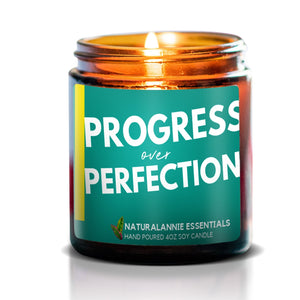 PROGRESS OVER PERFECTION Scented Soy Candle