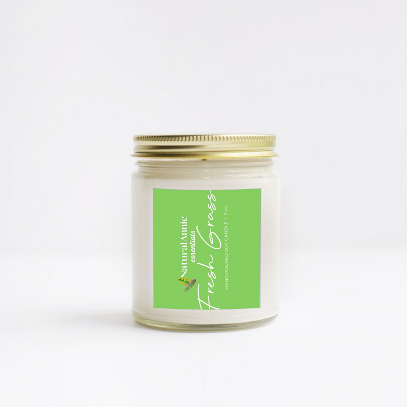 Fresh Grass Summer weekend scented soy candle handmade for your home.