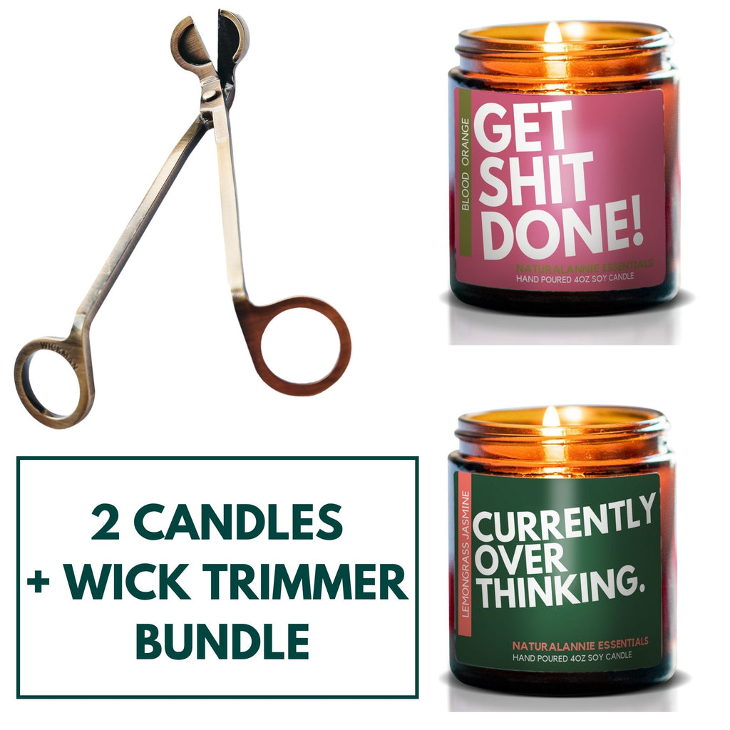 2 HAND PURED SCENTED CANDLES WITH OTIVATIONAL OR FUNNY QUOTES PLUS ANTIQUE WICK TRIMMER