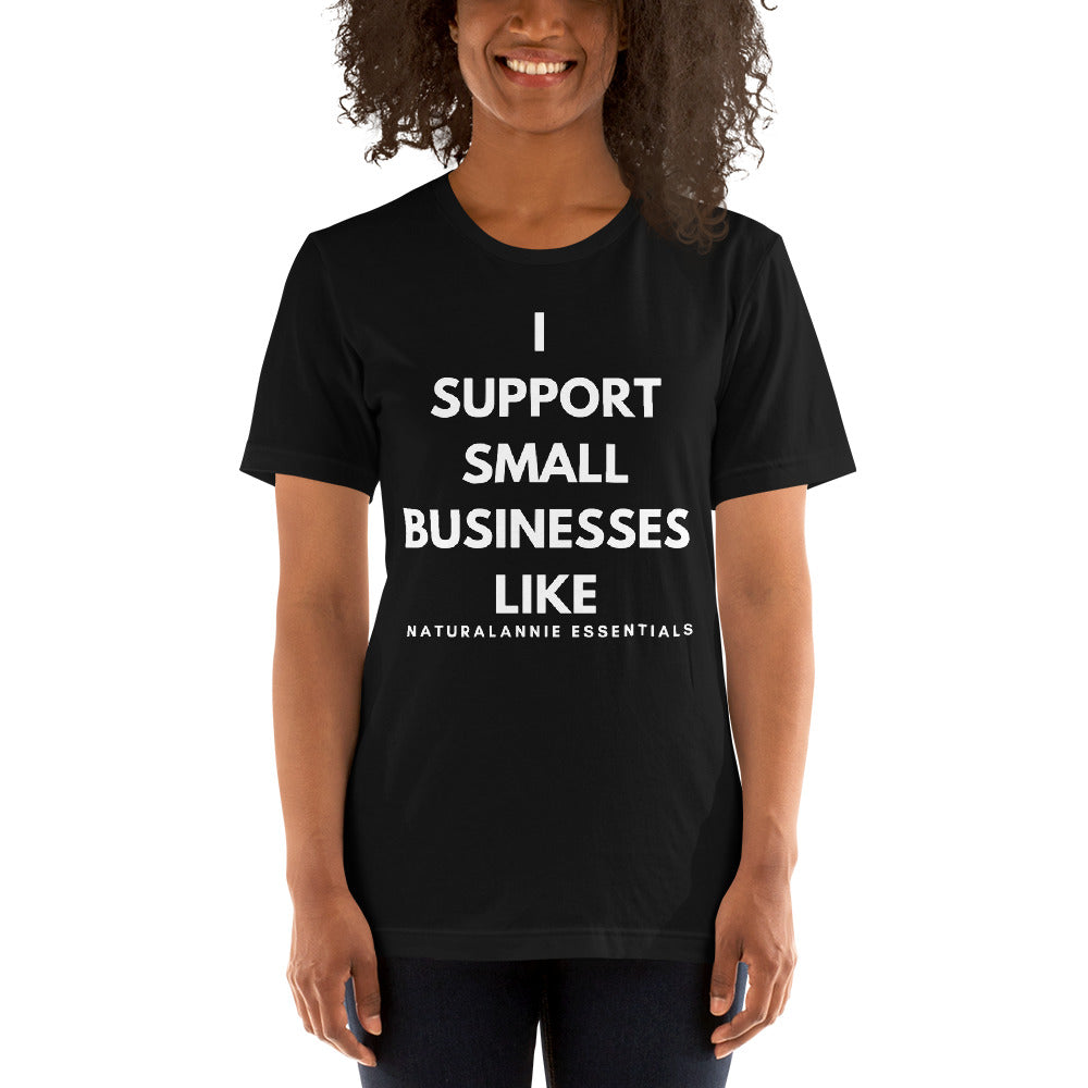 I SUPPORT SMALL BUSINESSES LIKE Short-Sleeve Black Unisex T-Shirt