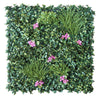 3D green wall with grasses and red flowers