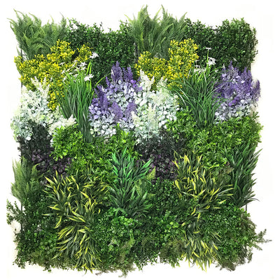 Artificial 3D plant wall with purple and yellow foliage 100x50cm