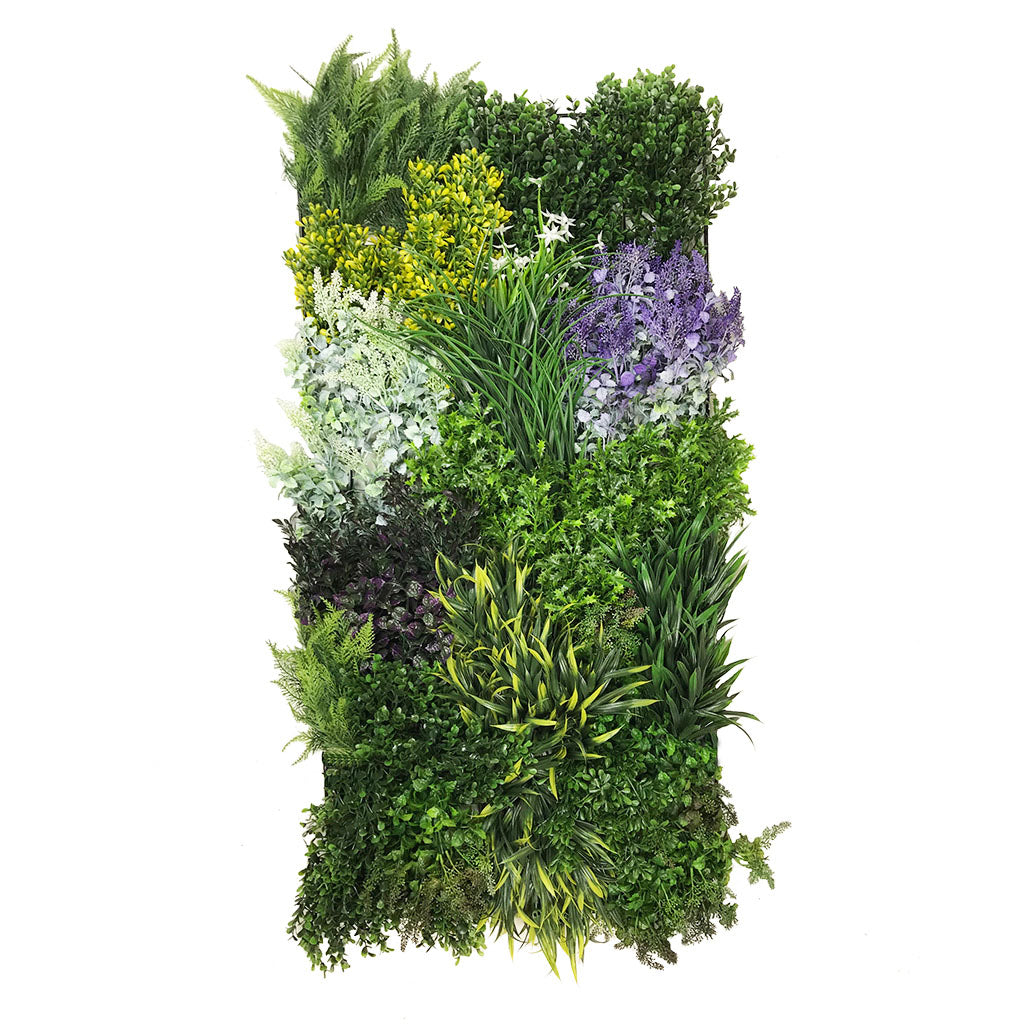 Artificial 3D plant wall with purple and yellow foliage 100x54cm - www.greenplantwalls.co.uk