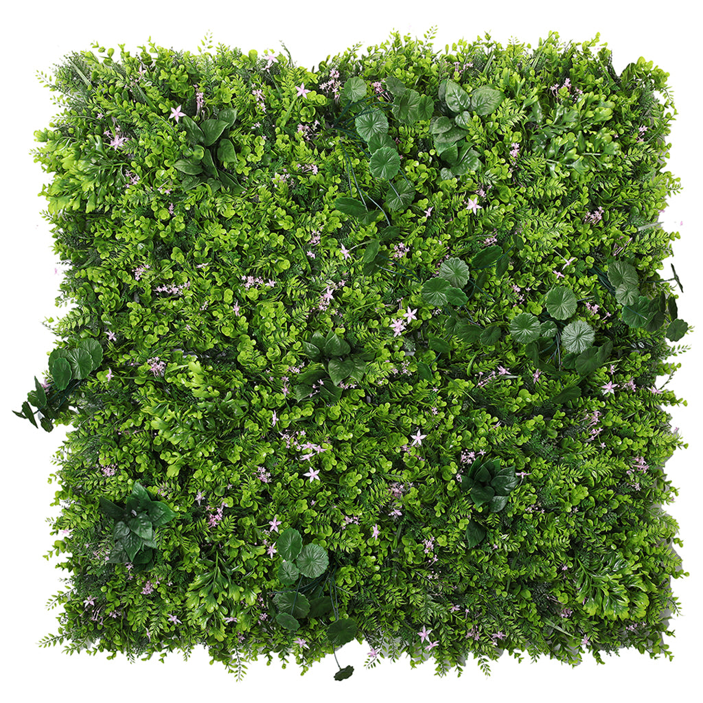 Artificial green wall mixed plant panel with pink flowers 100x100 cm - www.greenplantwalls.co.uk