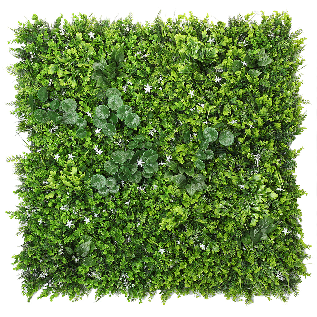 Artificial green wall mixed plant panel with white flowers 100x100 cm - www.greenplantwalls.co.uk