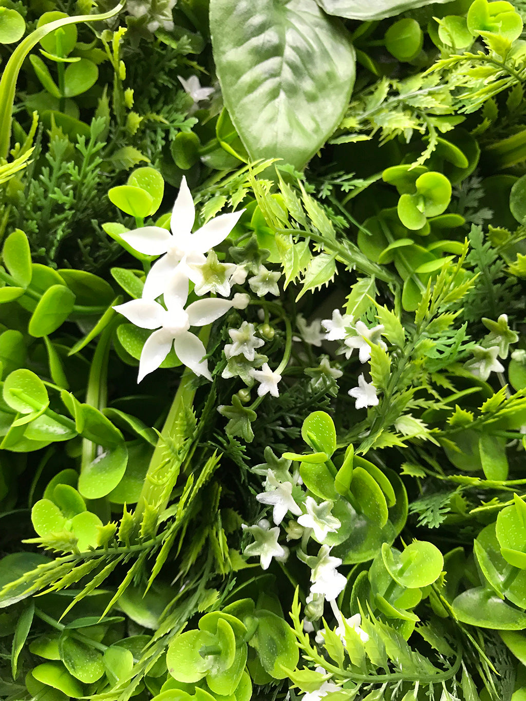 Artificial Green Wall Mixed Plant Panel With White Flowers 100x100 Cm Greenplantwalls Co Uk