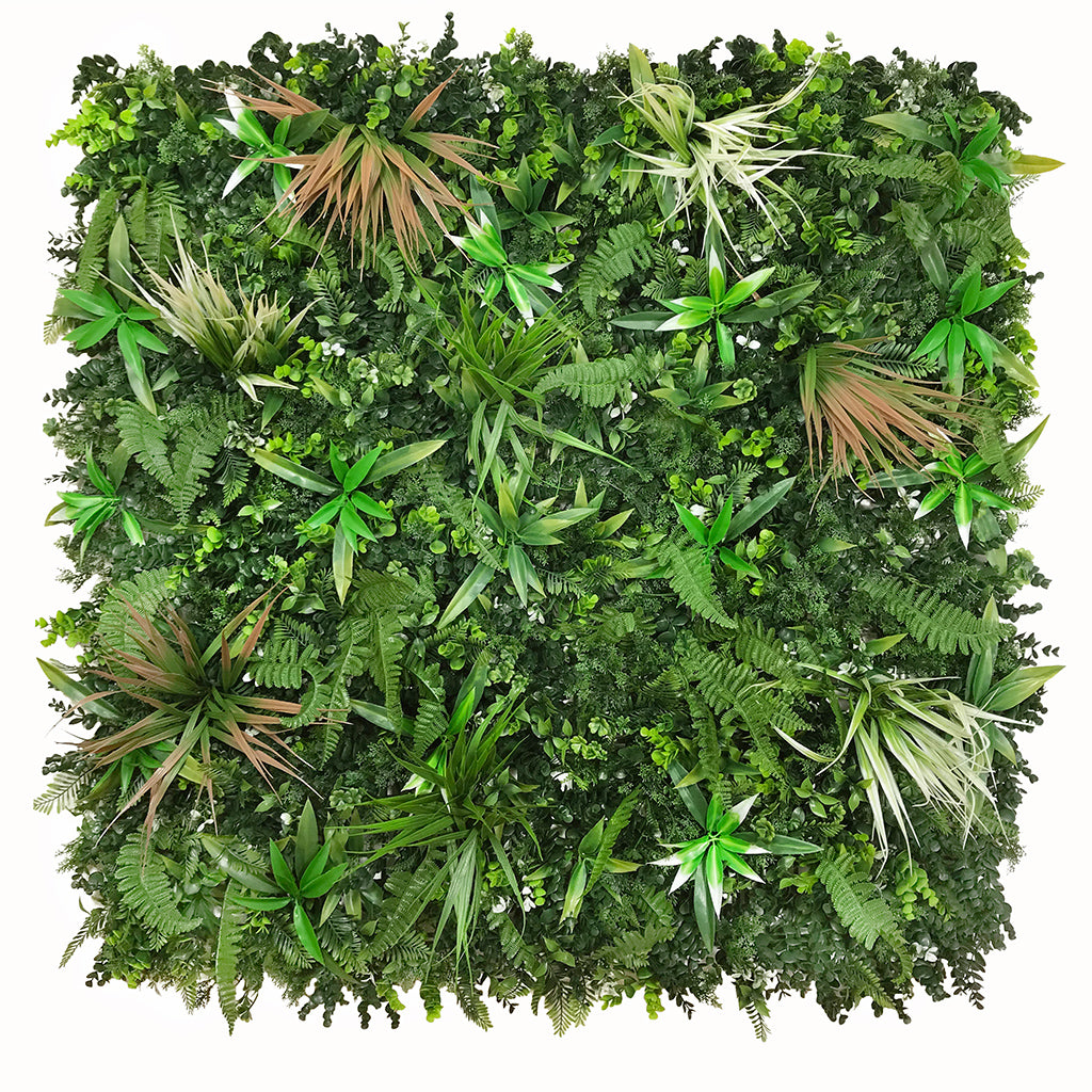 Artificial green wall panel with mixed green, red & white foliage 100x100 cm