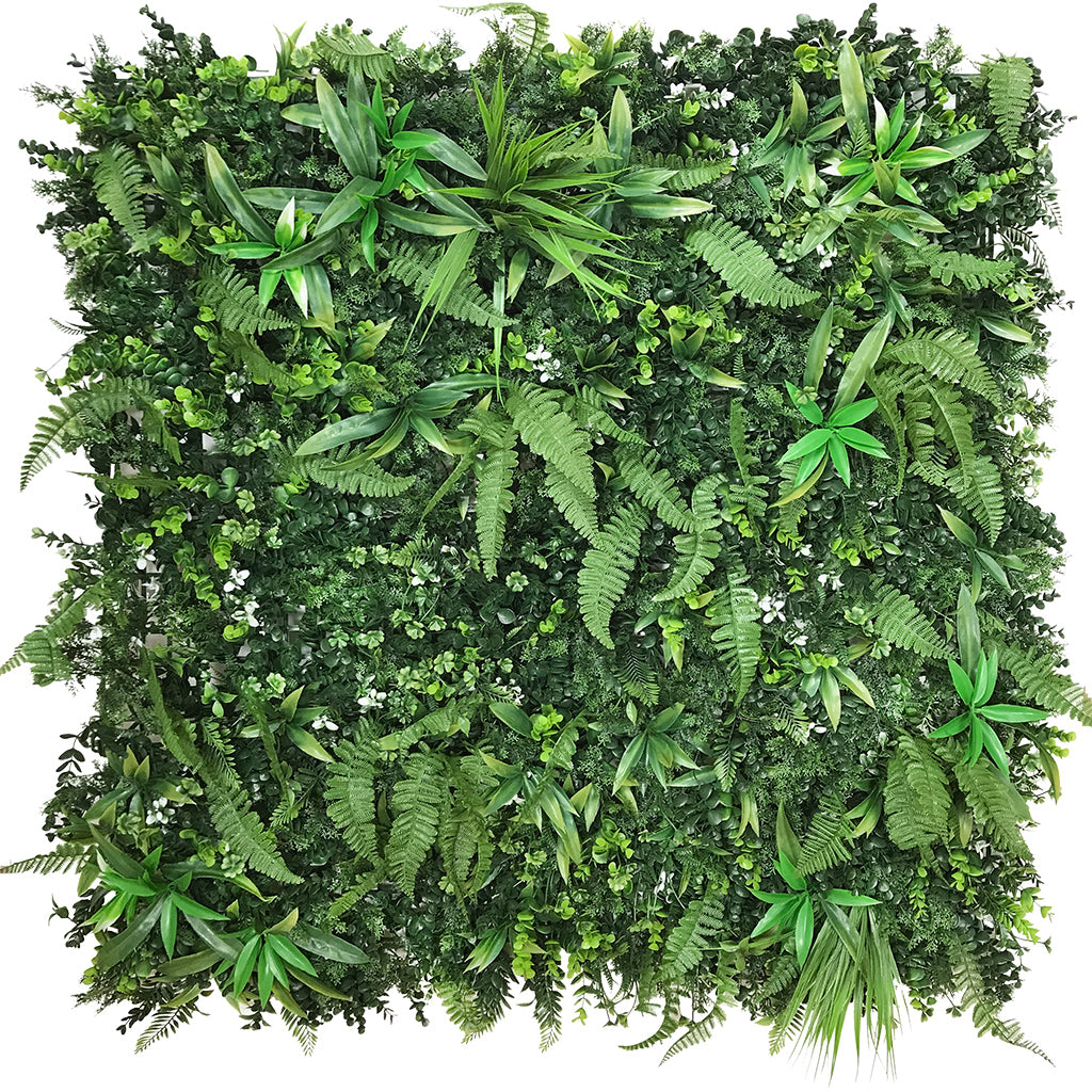 Artificial green wall panel with mixed green foliage 100x100 cm