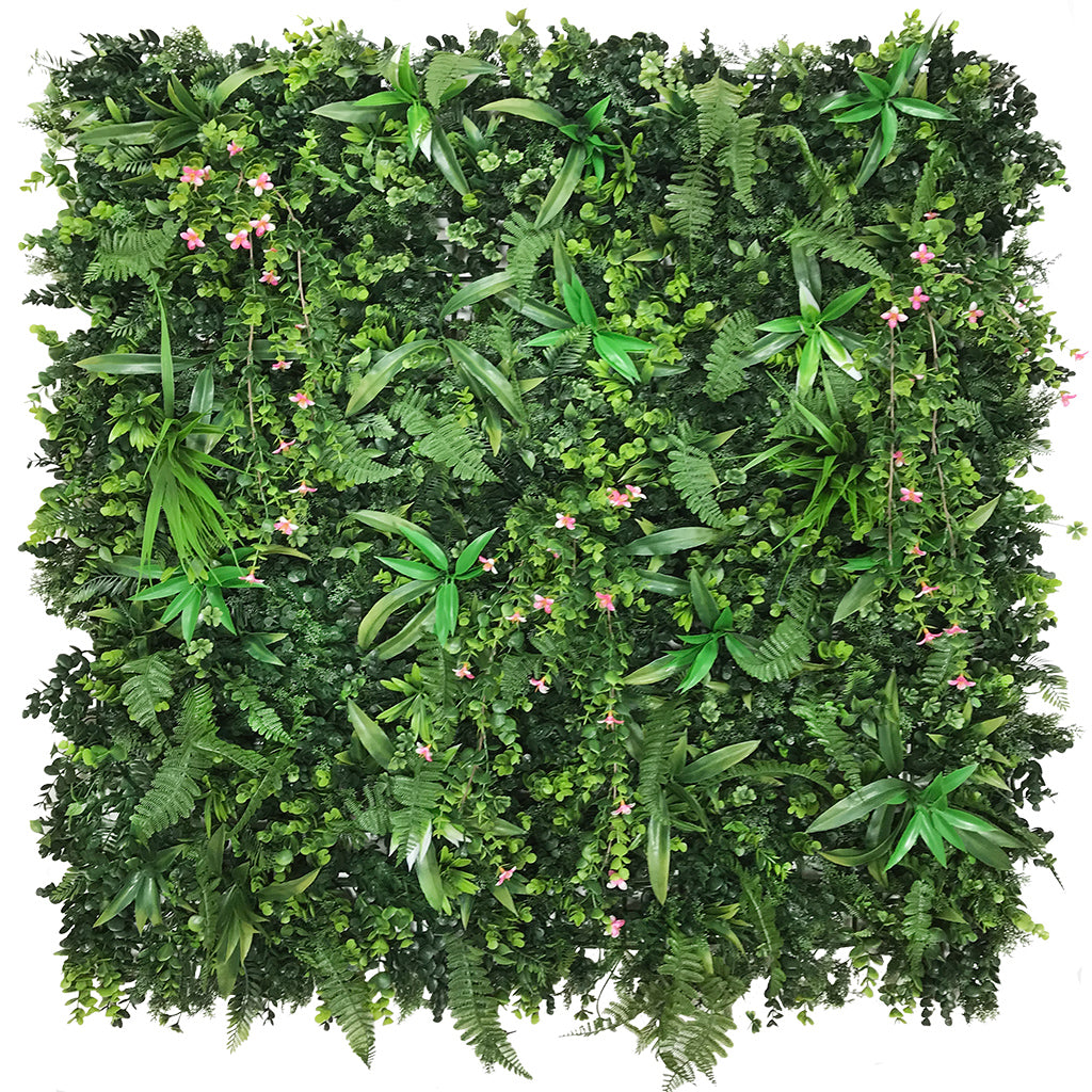 Artificial green wall panel with mixed green foliage & pink trailing flowers  100x100 cm
