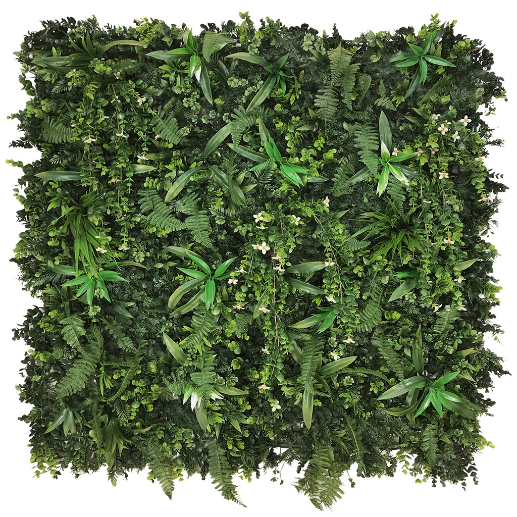 Artificial green wall panel with mixed green foliage & white trailing flowers  100x100 cm