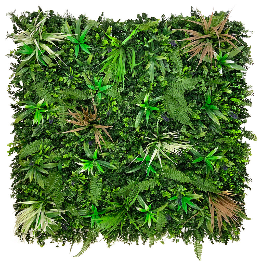 Artificial green wall panel with mixed green, red & white foliage & purple flowers  100x100 cm